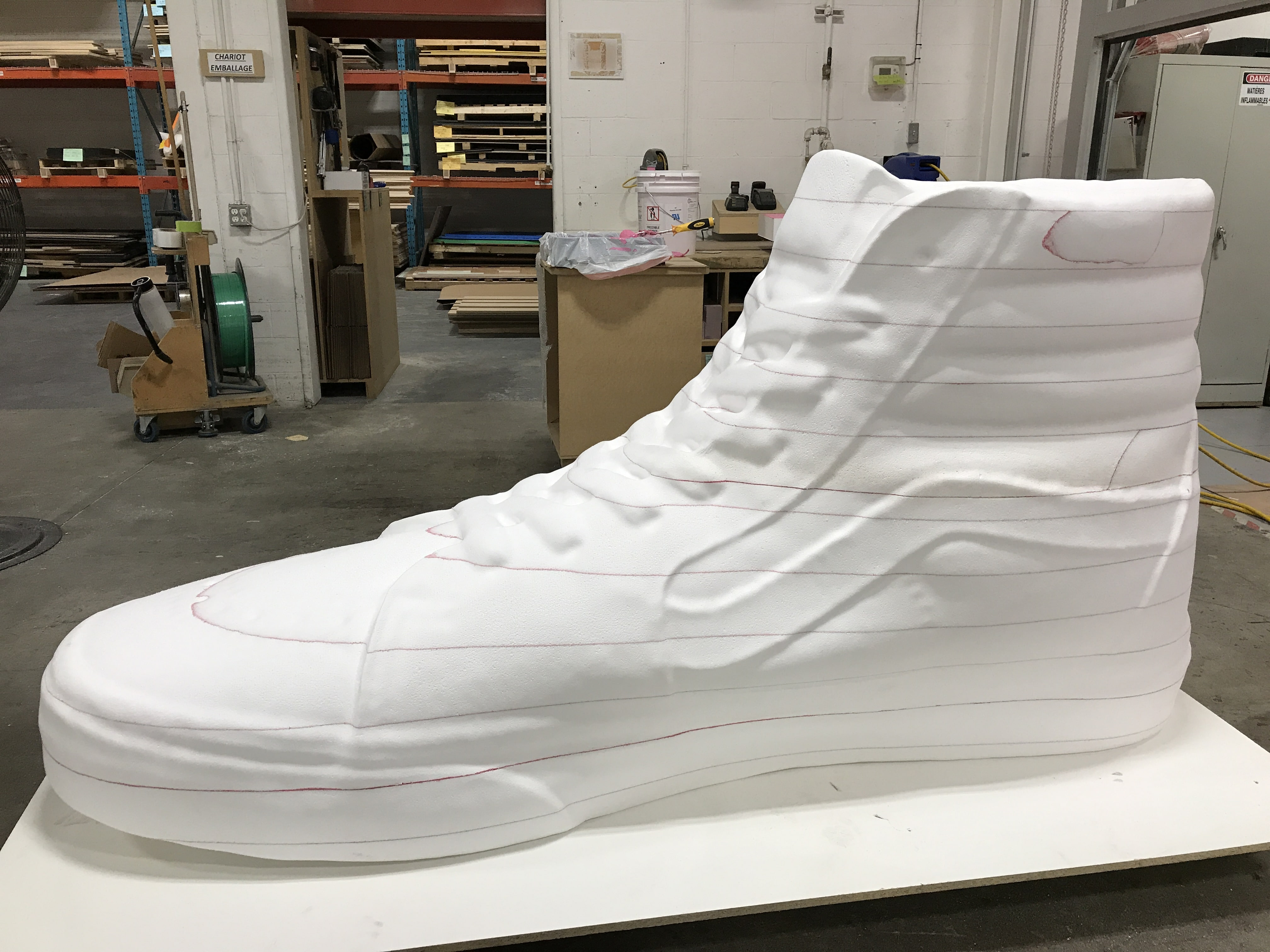 soulier polystyrène côté